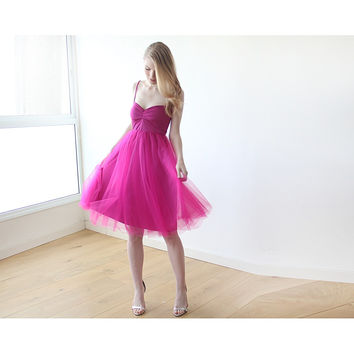 Fuchsia Midi Tulle Ballerina Dress