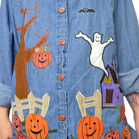 vintage 90s embroidered HALLOWEEN shirt denim jean button up Pumpkin Ghost Ghoul Witchy novelty blouse top patchwork small