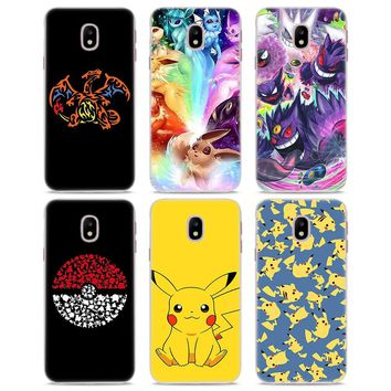 cartoon pokemons eevee pika Style Clear Frame hard back Phone Case for Samsung J3 J5 J7 2017 J7 Prime J4 J6 J8 2018