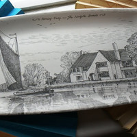 Horning Ferry The Norfolk Broads A Thetford Tray Lovely Sketch Sail