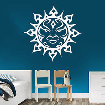 Wall Decal Sun Moon Crescent Dual Ethnic Stars Night Symbol Sunshine Decor C175