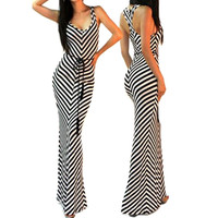 Summer Sexy Stripe Dress Sundress Women V-neck bodycon Beach Long Dress Maxi Dress Female Vestidos robe longue femme-0407