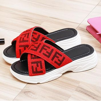 Fendi New fashion more letter shoes thick bottom slippers flip flop women Red