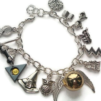 Harry Potter Charm Bracelet - Harry Potter Bracelet - Potter Jewelry - Hogwarts Bracelet - Golden Snitch Locket - Hermoine - Deathly Hallows