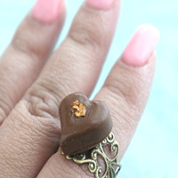 heart chocolate truffle ring