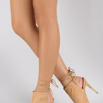 Qupid Lace Up Mule Peep Toe Gold Heel