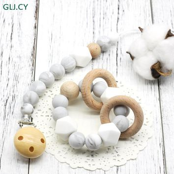 Baby bracelet Wooden Pacifier Clip Montessori Toy Silicone Beads Teether Infant hex silicone BPA Free bracelet