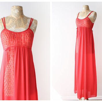 CLEARANCE SALE - Vintage Red Maxi Nightgown - Romantic 1970's Nylon Nightgown with Lace - Long Empire Waist Nightgown - Size Medium