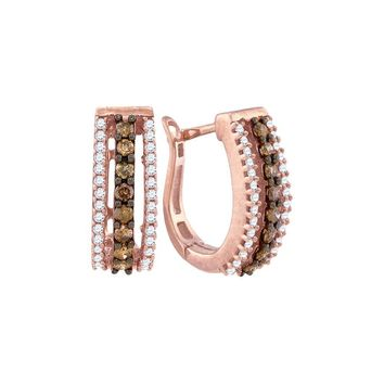 10k Rose Gold Cognac-brown Colored White Diamond Womens Pave Huggie Hoop Earrings 1/2 Cttw