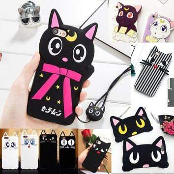 Fashon Sailor Moon Cartoon 3D Luna Cat  Artemis Phone Case for iPhone 4 4S 5 5S SE 6 6S Plus 7 8 8Plus Soft Silicone Cover Funda