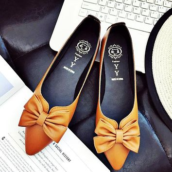 New style pointed flat sole shoes with shallow mouthpiece single shoe students'obedient shoes spring style women's shoes Only one pair Orange