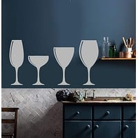 Vinyl Wall Decal Wine Shop Alcohol Glasses Bar Kitchen Decoration Stickers (2823ig)