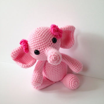 Amigurumi Elephant Crochet Elephant Stuffed Toy Elephant Kids Toy Pink Kawaii Elephant Plush Nursery Decor Birthday Baby Shower Gift Ideas