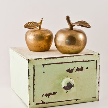 Vintage Brass Apple Pair