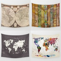 Homing New Arrive Hanging Wall Polyester Tapestry  Retro Colorful World Map Bedspread Home Living Room Decoration Yoga Mat Towel