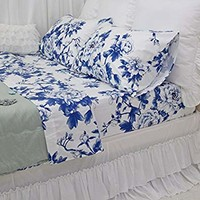 Queen's House Classical Blue and White Porcelain Print Bed Sheet and Pillowcases Set-Queen,I
