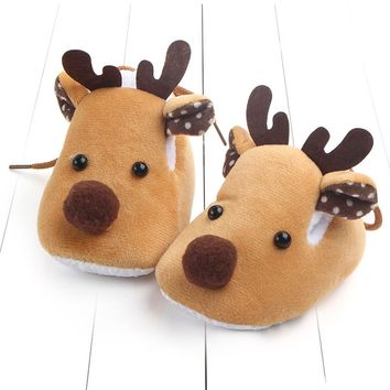 Newborn Infant Baby Shoes Winter Reindeer Soft Sole Anti-slip (3 colors)