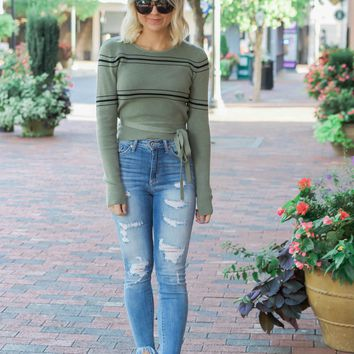 Olive Striped Wrap Sweater