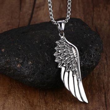 Stainless Steel Feather Angel Wing Pendant Necklace