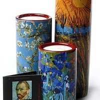 Van Gogh Tealight Ceramic Candleholder Set of 3 5.9H
