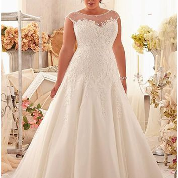 [163.99] Fabulous Tulle & Satin Bateau Neckline Natural Waistline A-line Plus Size Wedding Dress - dressilyme.com