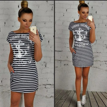 Anchor Print Striped Dress With Pocket