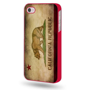 Shawnex California Republic Flag Grunge Distressed Red Plastic iPhone 4 & 4S Case - Fits iPhone 4 & 4S
