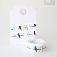 WASHI TAPE, birds in black, pink, yellow. cyan on white background