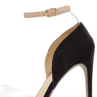 Clearly Chic White and Black Suede Lucite Heels