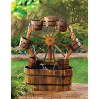 Wagon Wheel Garden Water Fountain w/ Electric Pump