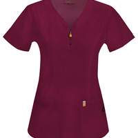 Code Happy V-Neck Top (Antimicrobial) in Wine from Uniform Destination