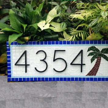 House Number Sign with Palm Tree // Mosaic Address Sign // Blue and White