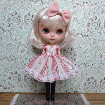"""Check and Flowers Dress and Petticoat Set for 12"""" Blythe"""