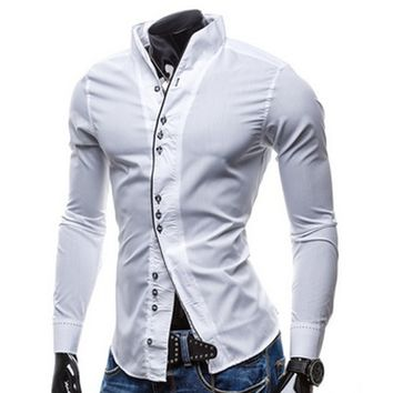 Spring 2016 fashion avant-garde Slim Men long-sleeved shirt