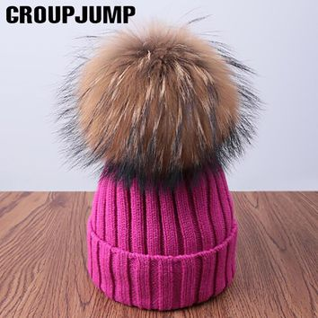Fashion Pompoms Winter Hat For Women Pom Poms Warm Skullies Beanies Women Hat Cotton Knitted Beanies Female Hat Brand Thick Cap