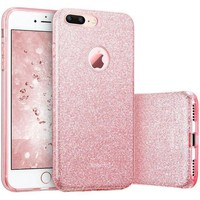 VONEG4S iPhone 7 Plus Case, ESR Bling Glitter Sparkle Three Layer Shockproof Soft TPU Outer Cover + Hard PC Inner Protective Shell Skin for Apple 5.5' iPhone 7 Plus (Rose Gold)