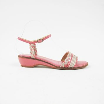 70s 80s Pink Wedge Sandals Size 6.5