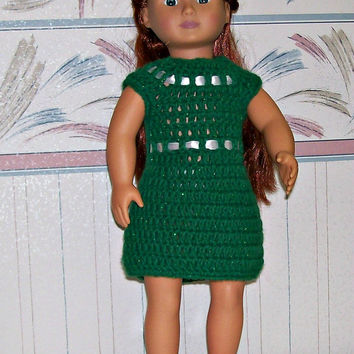 18 inch Doll Dress, Crochet, Handmade, Doll Accessories, Doll Clothes, Girl Gift, Doll Dress, American, Holiday Dress, Crochet Doll Clothing