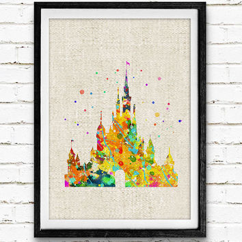 Cinderella's Castle Disney Watercolor Art Print, Princess Poster, Baby Nursery Wall Art, Home Decor, Not Framed, Buy 2 Get 1 Free!
