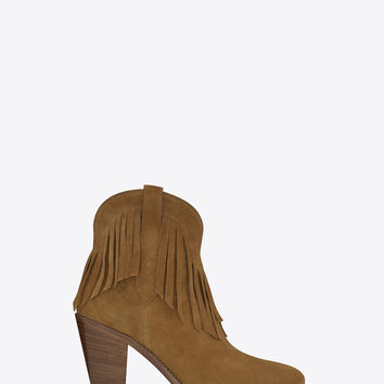 Saint Laurent NEW WESTERN 80 FRINGED ANKLE BOOT IN Tan SUEDE - ysl.com