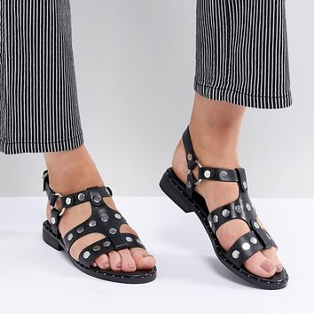Sol Sana Gunther Black Studded Sandals at asos.com