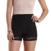 Lace Cut-Out High-Waisted Shorts by Charlotte Russe