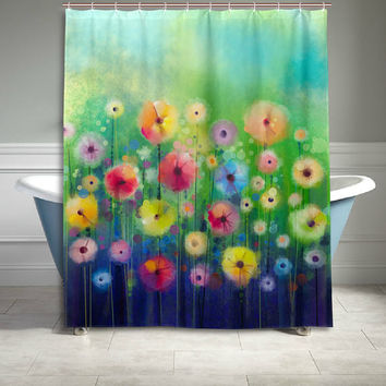 Colorful Flower Blossoms Watercolor Painting Polyester Fabric Shower Curtain Bathroom Sets Home Decor 60 X 72 Inches Green