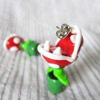Mario Brothers earrings Piranha Plant studs by TrenoNights on Etsy
