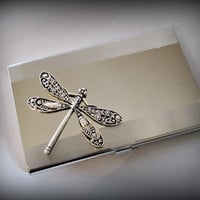 Dragonfly business card holder-credit card holder-fantacy dragonfly stainless steel card holder-gothic card holder-steampunk card holder