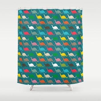 Colorful Dinosaurs Shower Curtain