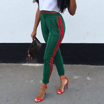 Sexy Green Trousers Stripe Side Pencil Pant Female 2017 Summer Harem Bottom Women High Waist Drawstring Dropship Stripped Pants
