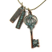 Antique Skeleton Key and Forever Charm Necklace in Brass   DOTOLY