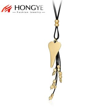Unique Trendy Black Pu Leather Long Necklace Women Love Heart Alloy Beads Tassel Double Layer Necklace Pendant Best Friend Gift