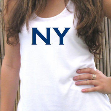 NY tank top shirt, womens tee T shirt, Screenprint for women